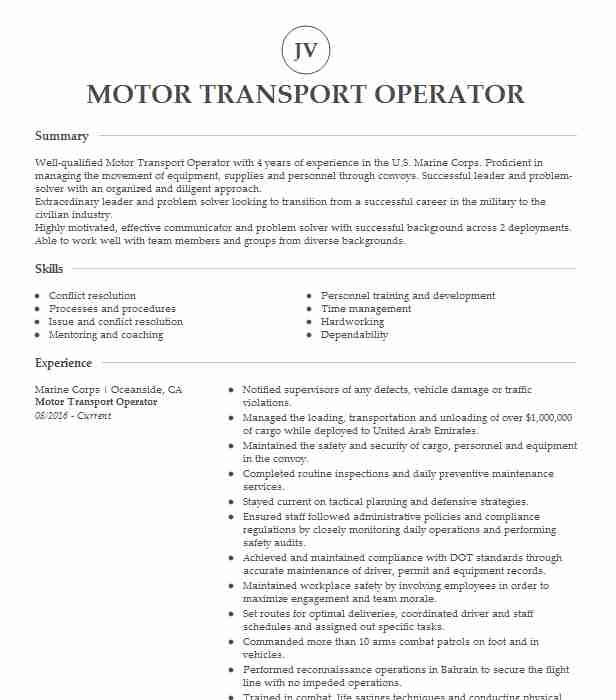 motor transport operator us marine corps resume example paramount skills for professional Resume Marine Corps Skills For Resume