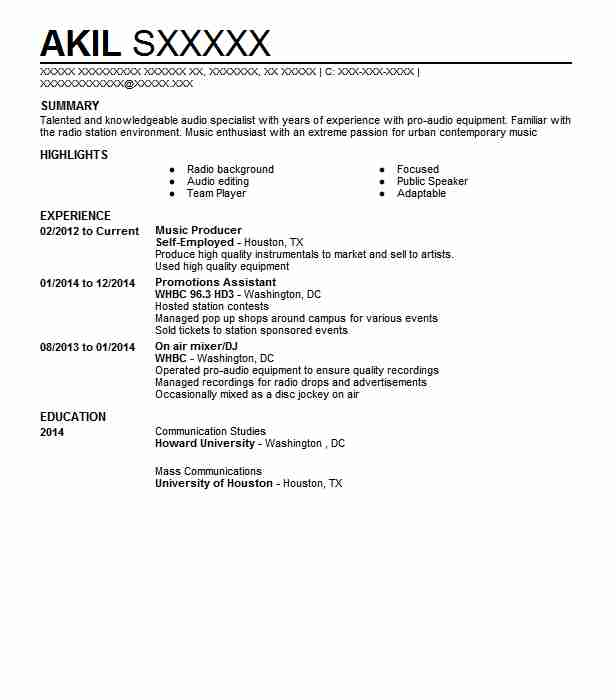 music producer resume example art resumes livecareer freelance mainframe for fresher Resume Freelance Music Producer Resume