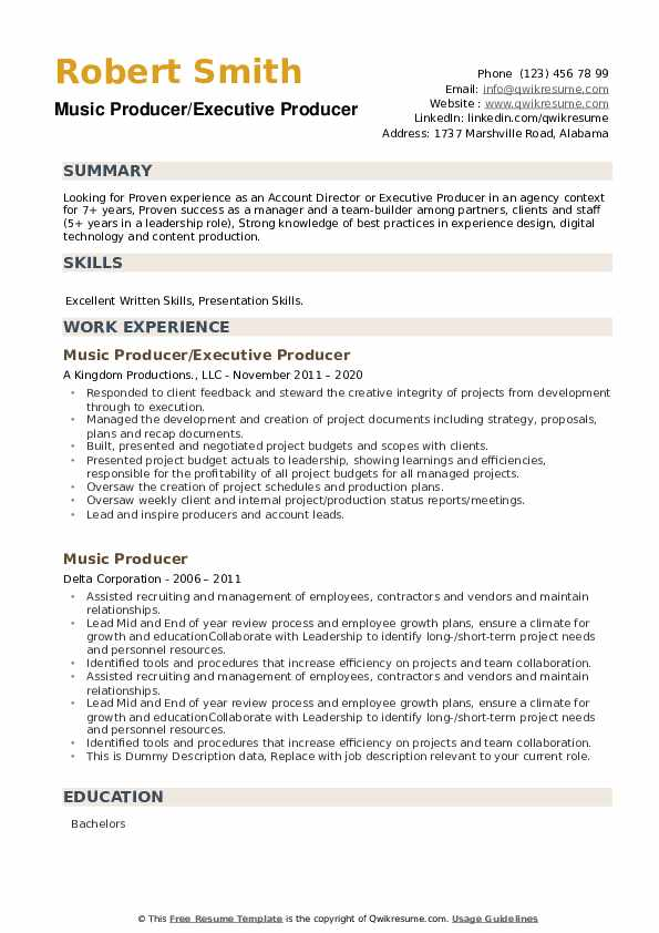 music producer resume samples qwikresume freelance pdf example automotive mechanic sample Resume Freelance Music Producer Resume