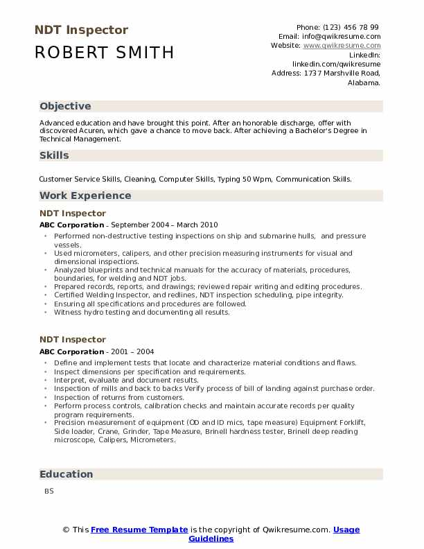 ndt inspector resume samples qwikresume sample pdf objective for action verbs yale sap pp Resume Ndt Inspector Resume Sample