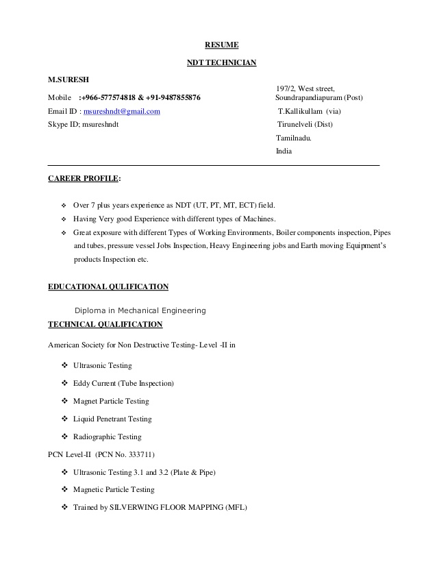 ndt resume inspector sample free templates word action verbs yale student first job time Resume Ndt Inspector Resume Sample
