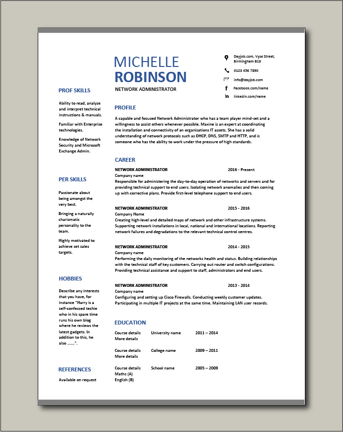 network administrator resume it example sample cisco routers job description Resume System Administrator Resume Sample Download