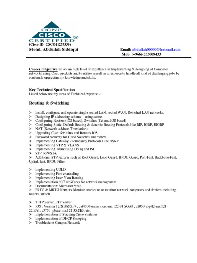 network engineer cv resume computer router computing career objective for teaching job Resume Career Objective For Network Engineer Resume