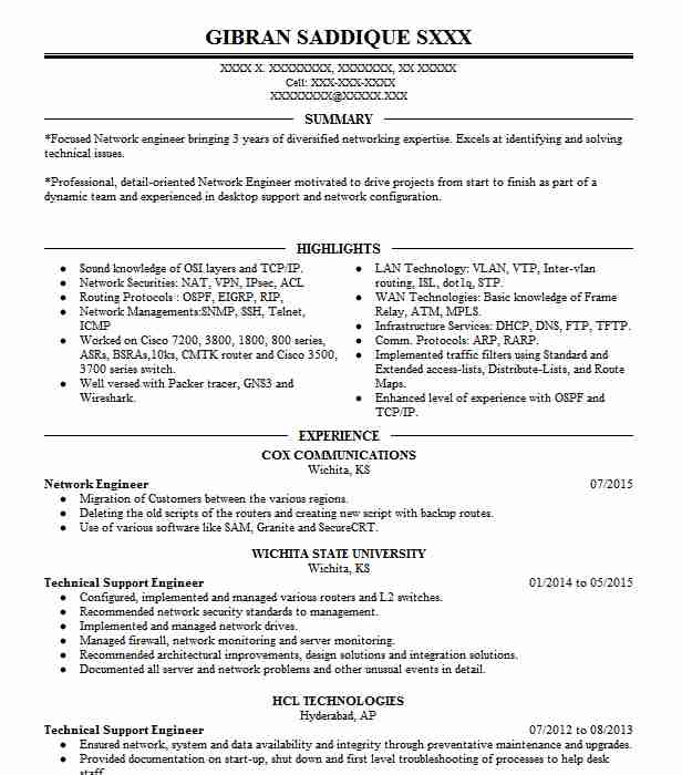 network engineer resume example technical resumes livecareer professional summary for Resume Network Engineer Resume Examples