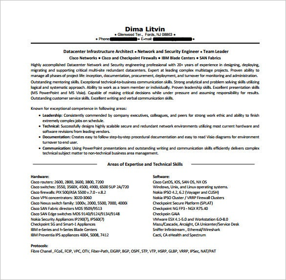 network engineer resume template free word excel pdf format premium templates for with Resume Resume For Network Engineer With Ccna Fresher