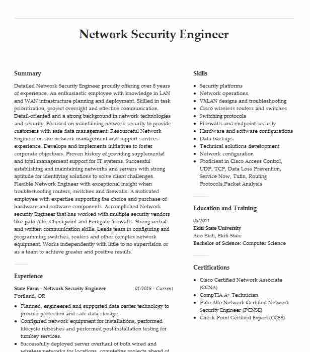 network security engineer resume example pfizer mphasis des plaines cisco ise director of Resume Cisco Ise Engineer Resume