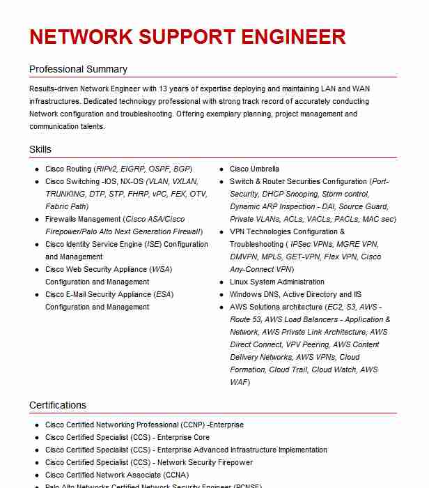 network support engineer resume example cisco meraki san francisco ise healthcare Resume Cisco Ise Engineer Resume