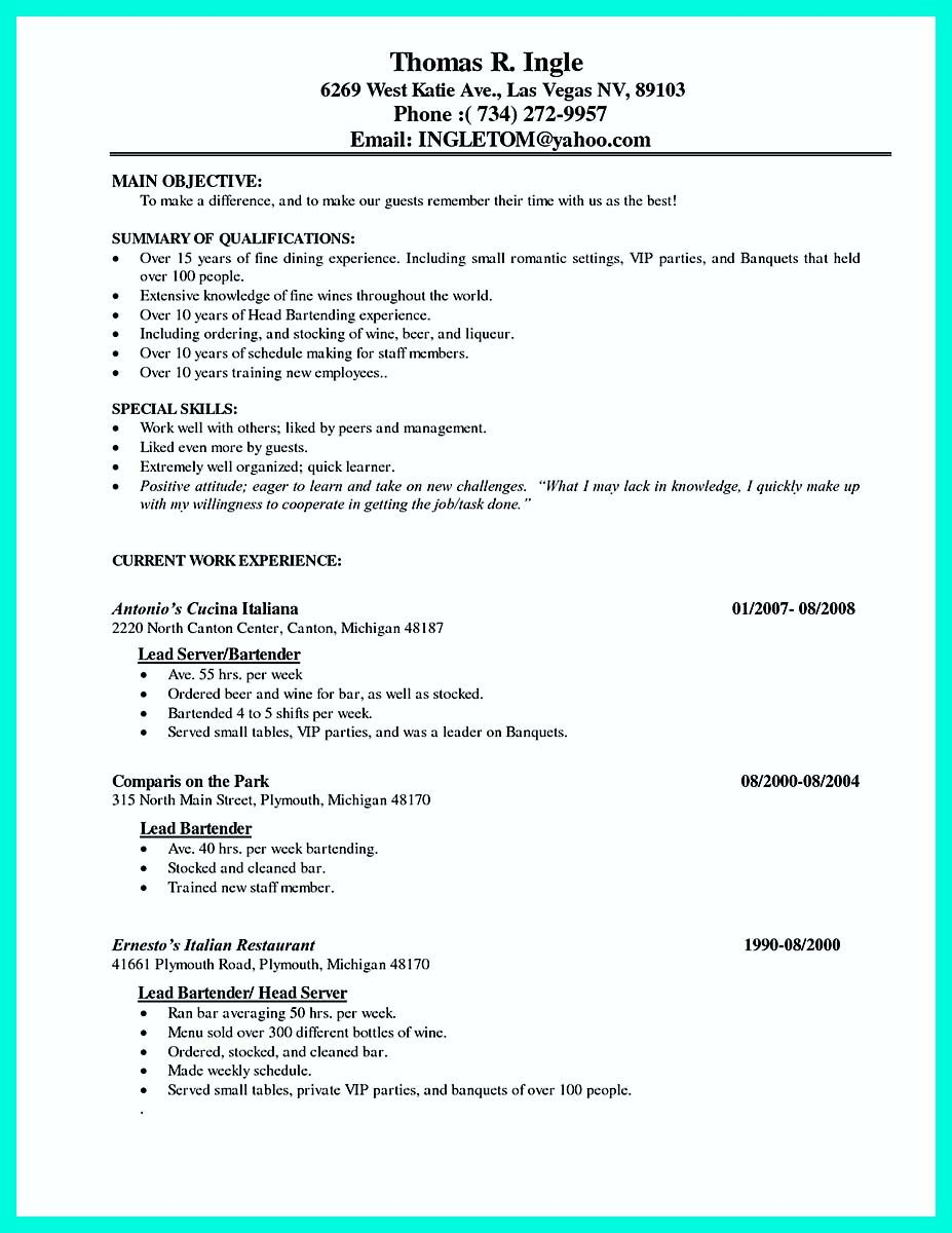 nice cocktail server resume skills to convince restaurants or café examples job Resume Cocktail Server Job Description Resume