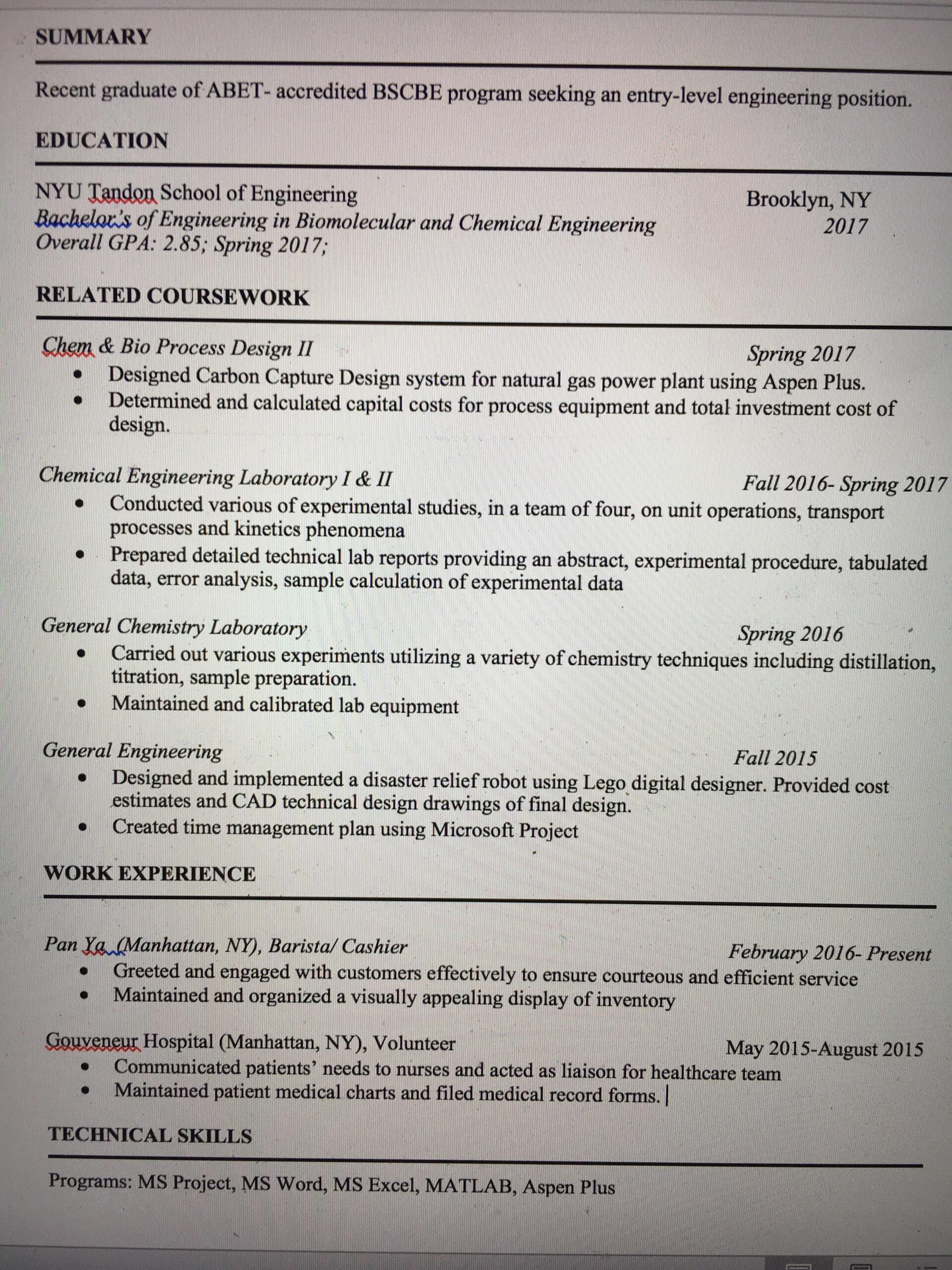 no experience chemical engineering college graduate resume critique someone please help Resume Chemical Engineering Resume