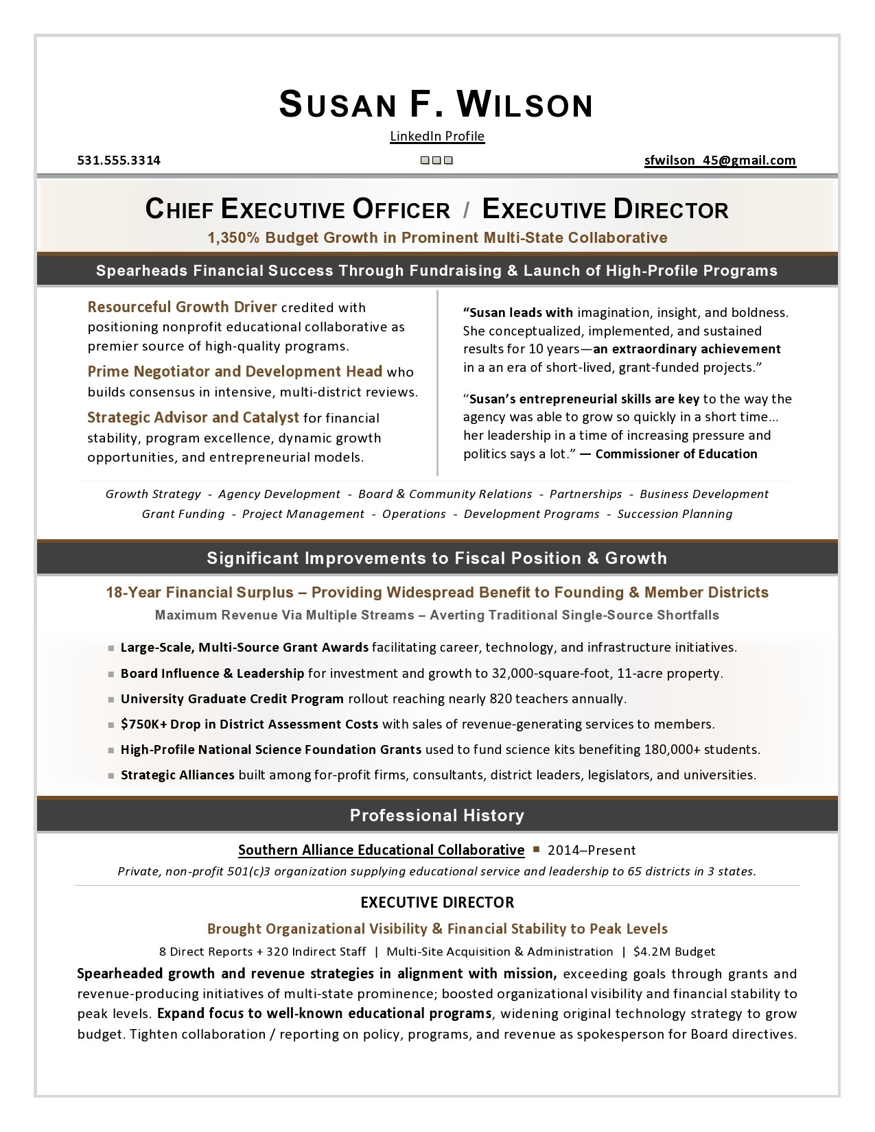 nonprofit ceo sample resume executive services director by laura proulx hvac supervisor Resume Nonprofit Executive Director Resume