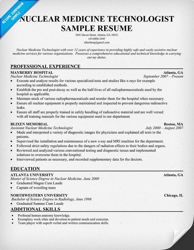 nuclear medicine technologist resume http resumesdesign technolog medical template Resume Nuclear Medicine Technologist Resume