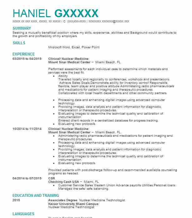nuclear medicine technology student resume example holly hospital fort technologist Resume Nuclear Medicine Technologist Resume
