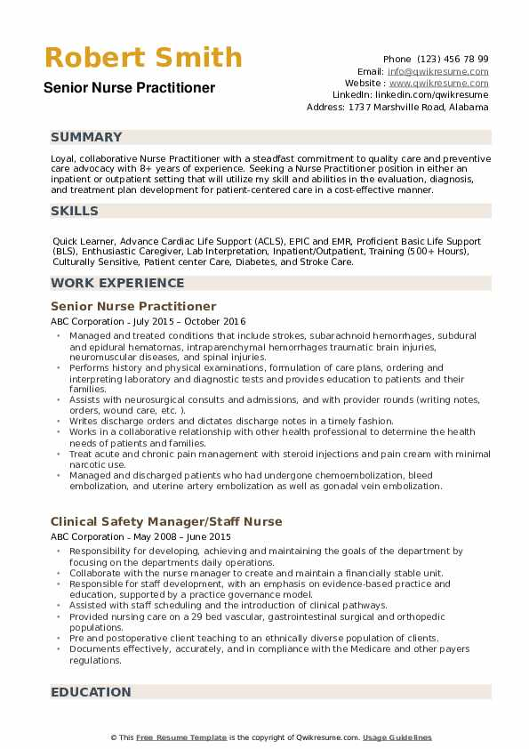 nurse practitioner resume samples qwikresume examples pdf call center customer service Resume Nurse Practitioner Resume Examples