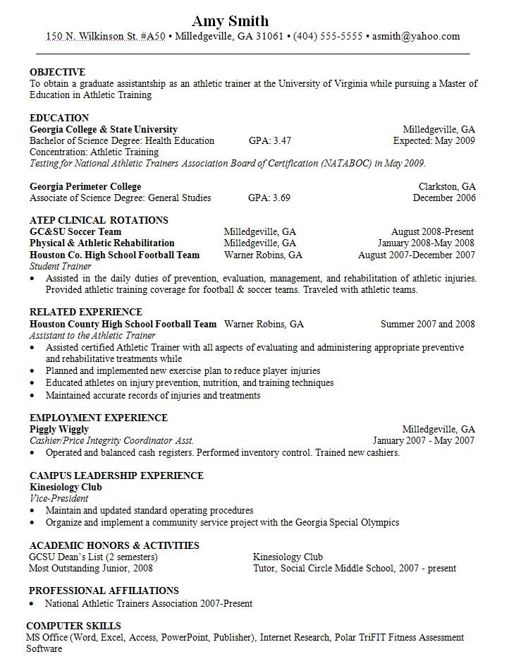 objective for resume athletic trainer http resumesdesign training skills sample college Resume Athletic Trainer Resume Sample