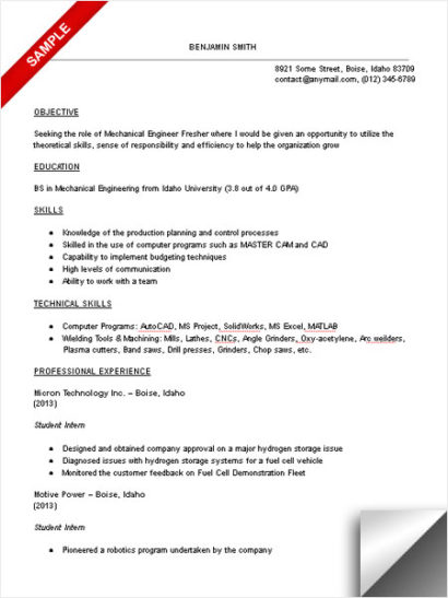 objectives for resume mechanical engineers custom research paper writing services Resume Objective For Resume For Fresher Mechanical Engineer