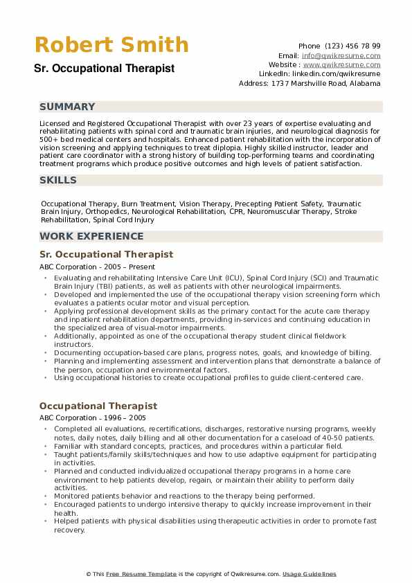 occupational therapist resume samples qwikresume therapy graduate school pdf applicant Resume Occupational Therapy Graduate School Resume