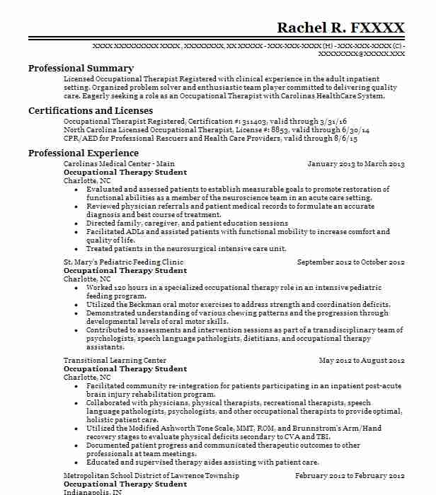occupational therapy student resume example good samaritan bonnell society fort collins Resume Occupational Therapy Graduate School Resume