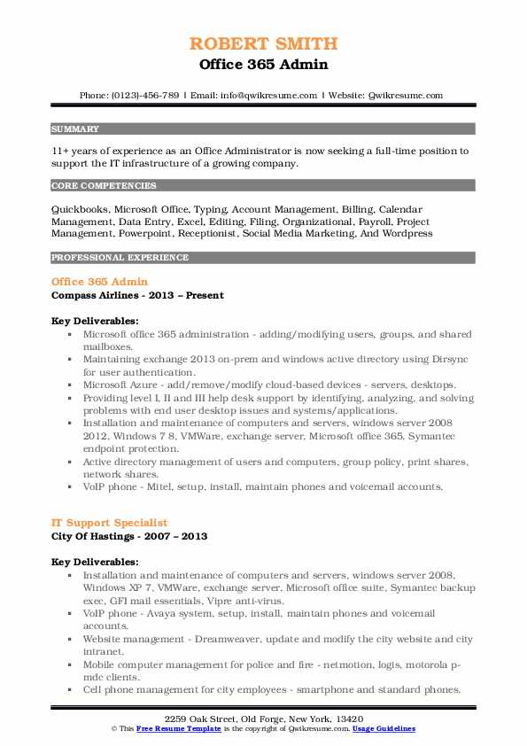 office admin resume samples qwikresume template pdf best cover letter of intent sample Resume Office 365 Resume Template