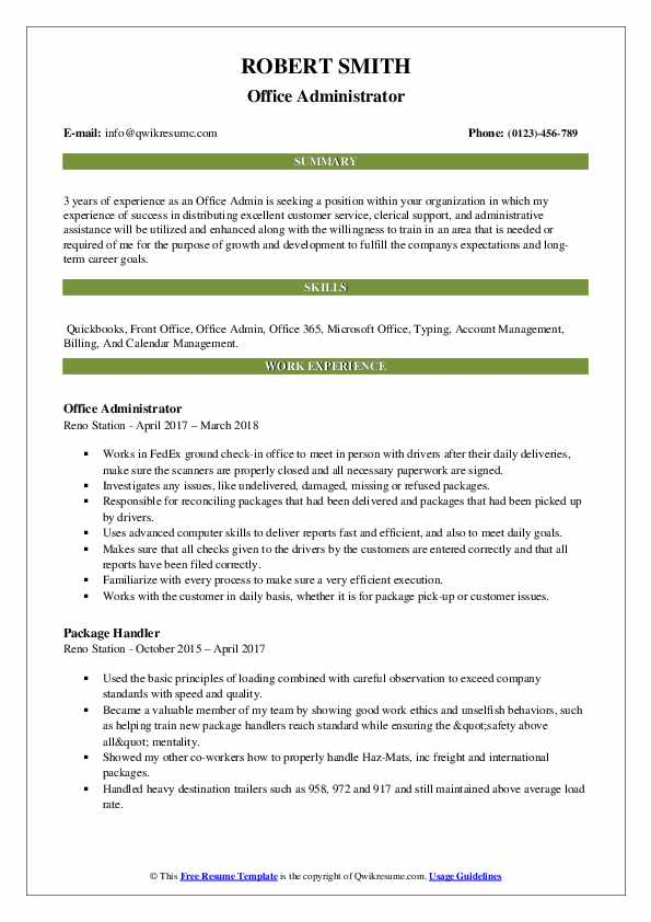 office admin resume samples qwikresume template pdf example of extracurricular activities Resume Office 365 Resume Template