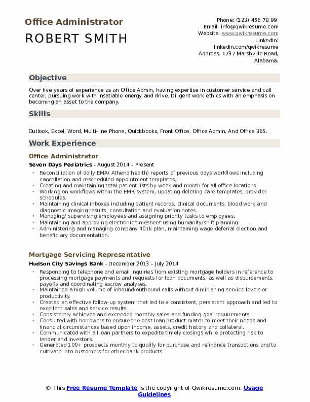 office admin resume samples qwikresume template pdf free without paying example of Resume Office 365 Resume Template