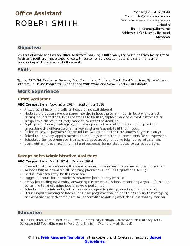 office assistant resume samples qwikresume objective pdf rating tool free windows Resume Office Assistant Resume Objective