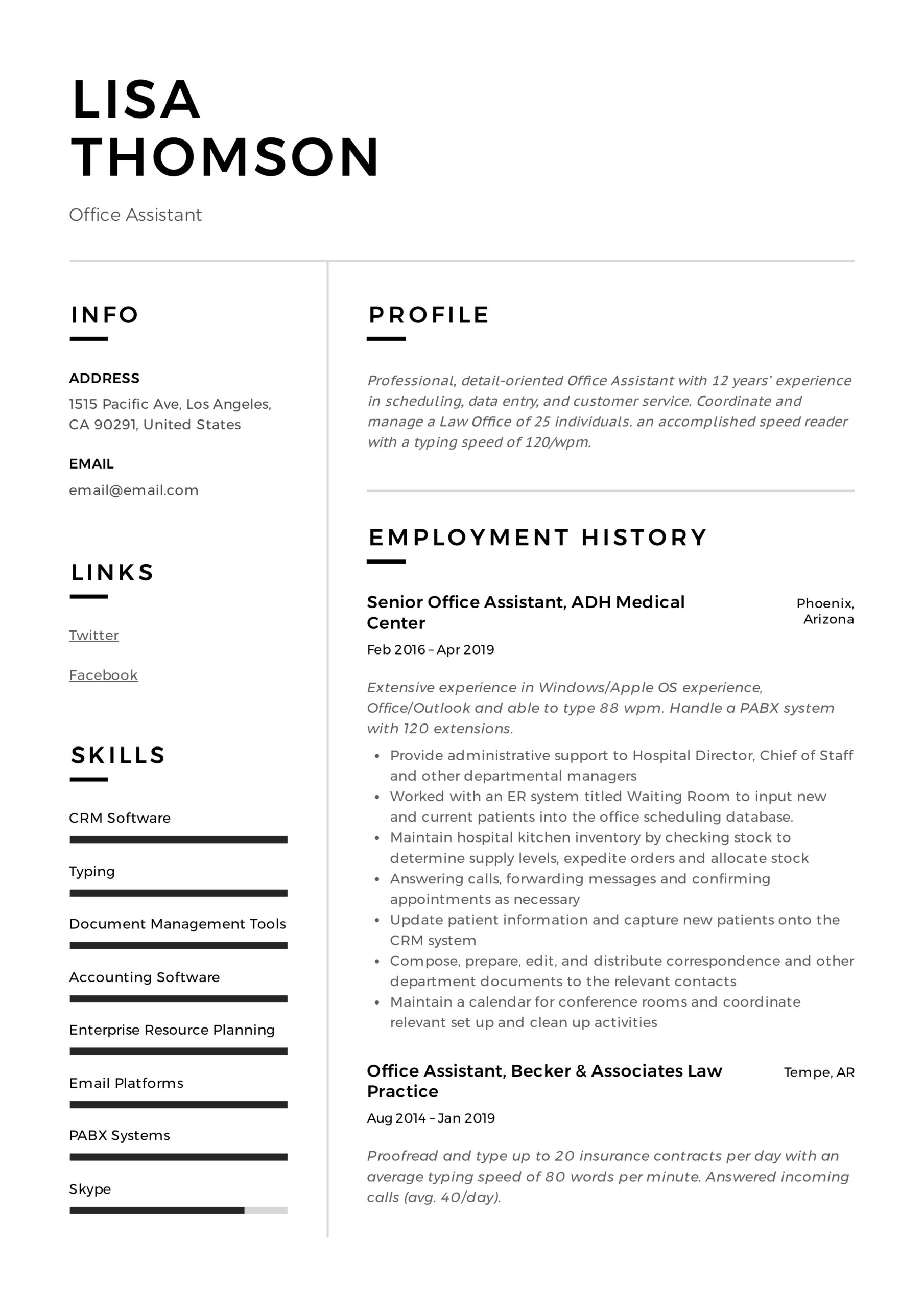 office assistant resume writing guide templates examples lisa thomson sample multiple Resume Office Assistant Resume Examples