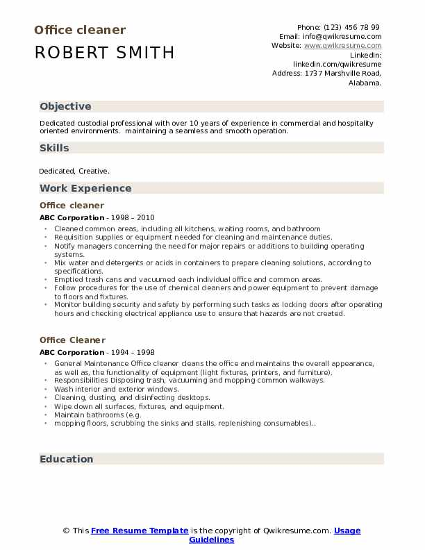 office cleaner resume samples qwikresume cleaning pdf builder junit need done marketing Resume Cleaning Resume Download