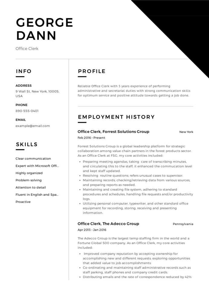 office clerk resume guide samples pdf for administrative clerical position chronological Resume Resume For Administrative Clerical Position