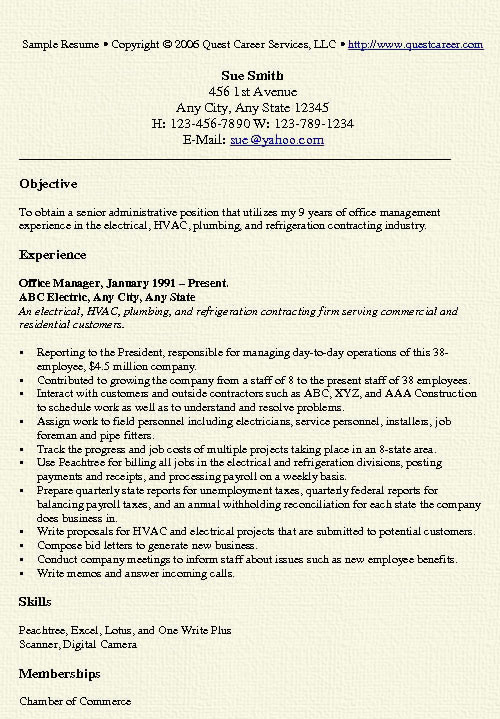 office manager resume example free professional document objective for sample Resume Resume Objective For Manager
