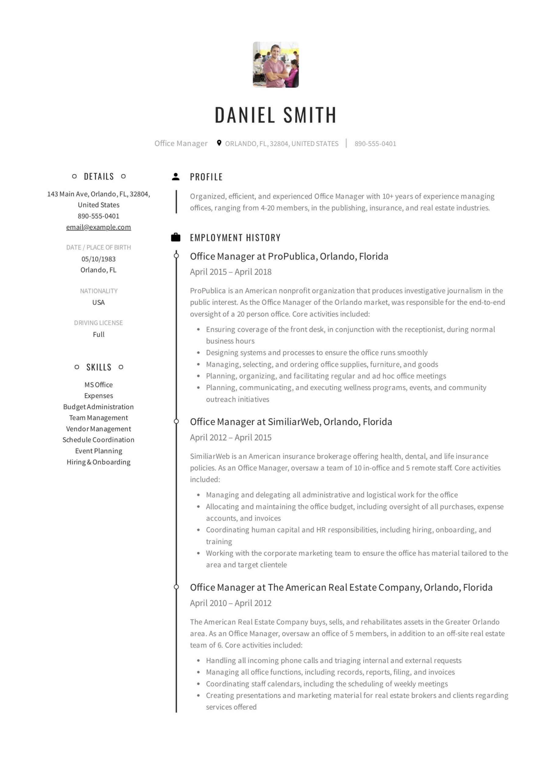 office manager resume guide samples pdf professional examples example excel vba on error Resume Professional Resume Examples 2020
