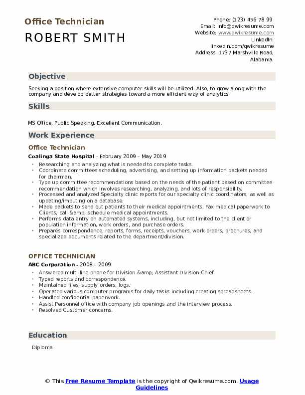 office technician resume samples qwikresume and computer skills for pdf sample warehouse Resume Office And Computer Skills For Resume