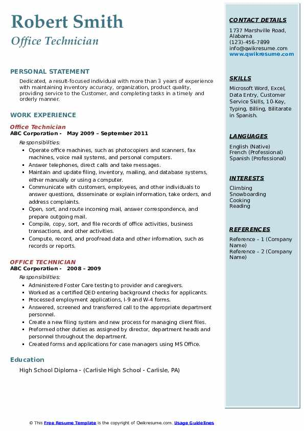 office technician resume samples qwikresume pdf configuration management examples lcsw Resume Office Technician Resume
