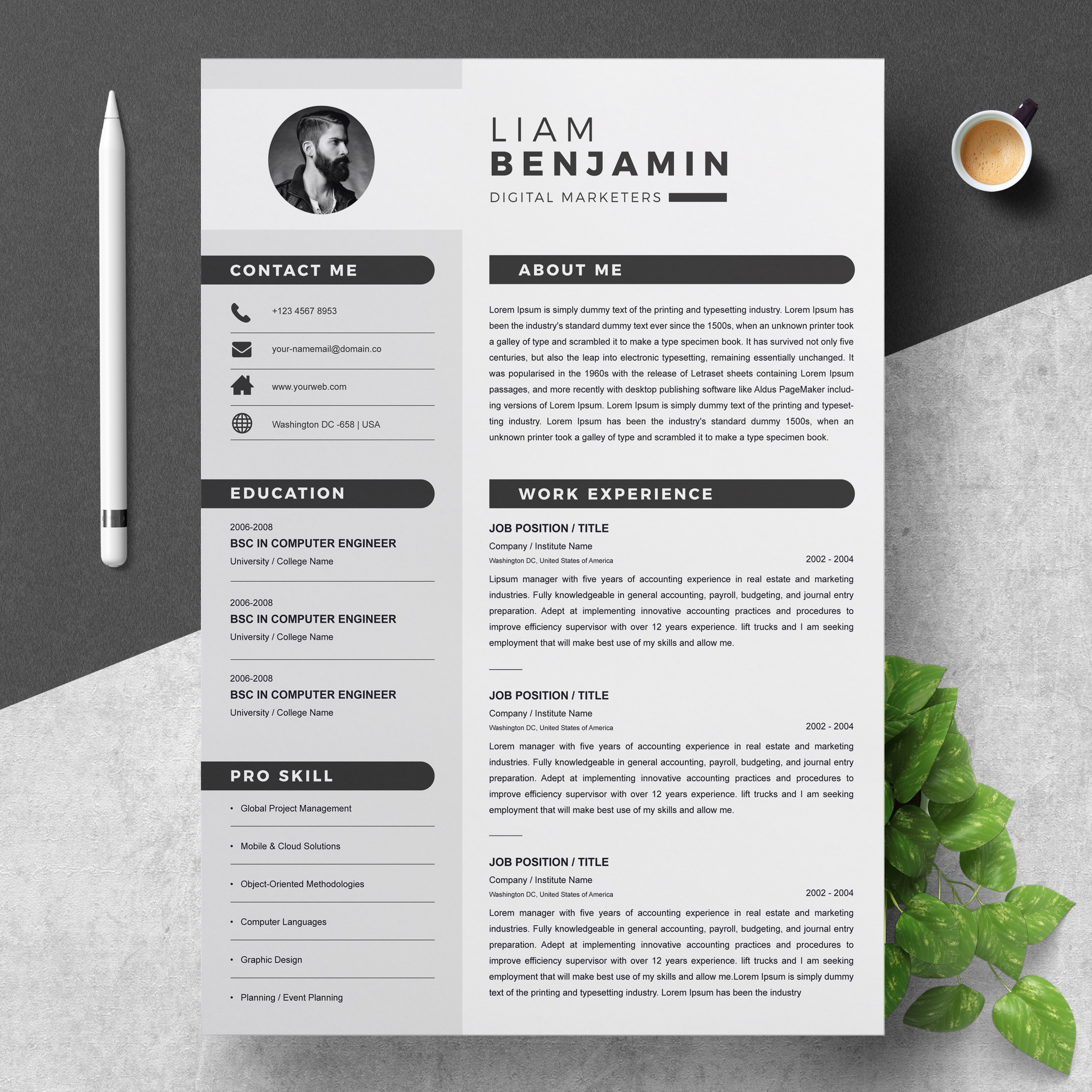 one resume archives resumeinventor template with photo free clean professional creative Resume One Page Resume Template With Photo Free Download