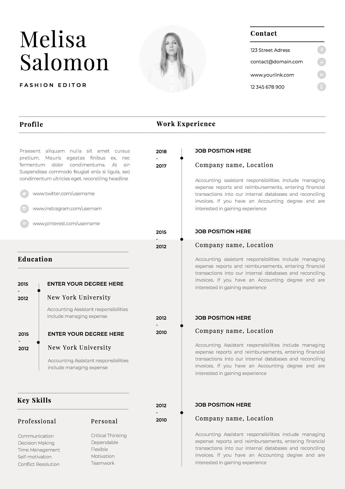 one resume template with photo for word cv singe professional simple free sample theatre Resume One Page Resume Template With Photo Free Download