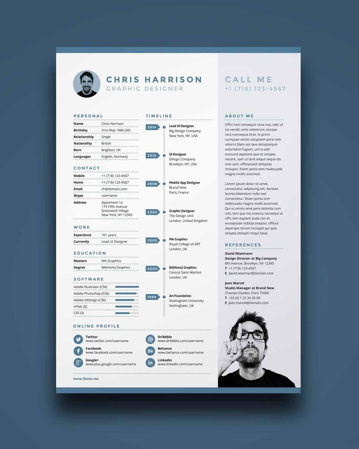 one resume templates examples of format template with photo free for job interview Resume One Page Resume Template With Photo Free Download