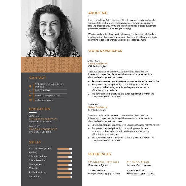 one resume templates free samples examples formats premium template with photo template1 Resume One Page Resume Template With Photo Free Download