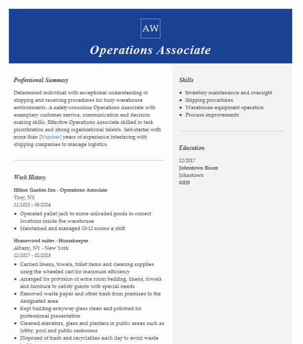 operations associate resume example resumes livecareer business print double sided Resume Business Operations Associate Resume