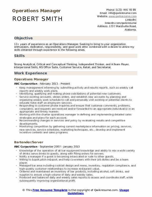 operations manager resume samples qwikresume objective statement for pdf professional Resume Resume Objective Statement For Manager