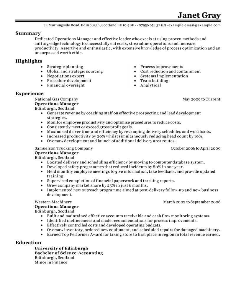 operations manager resume template for word livecareer business management example Resume Business Management Resume Example