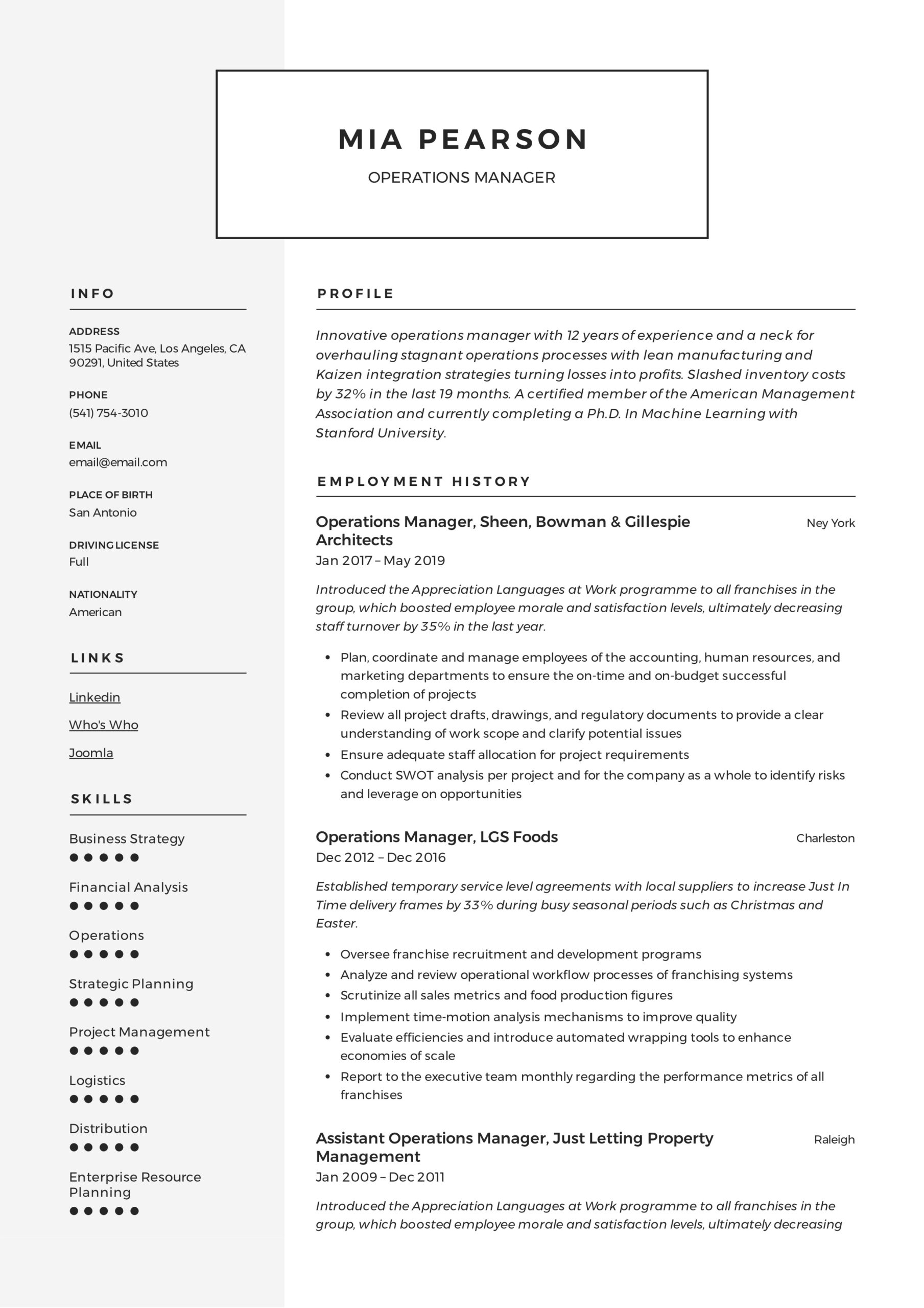operations manager resume writing guide examples pdf distribution sample example creative Resume Distribution Operations Manager Resume Sample