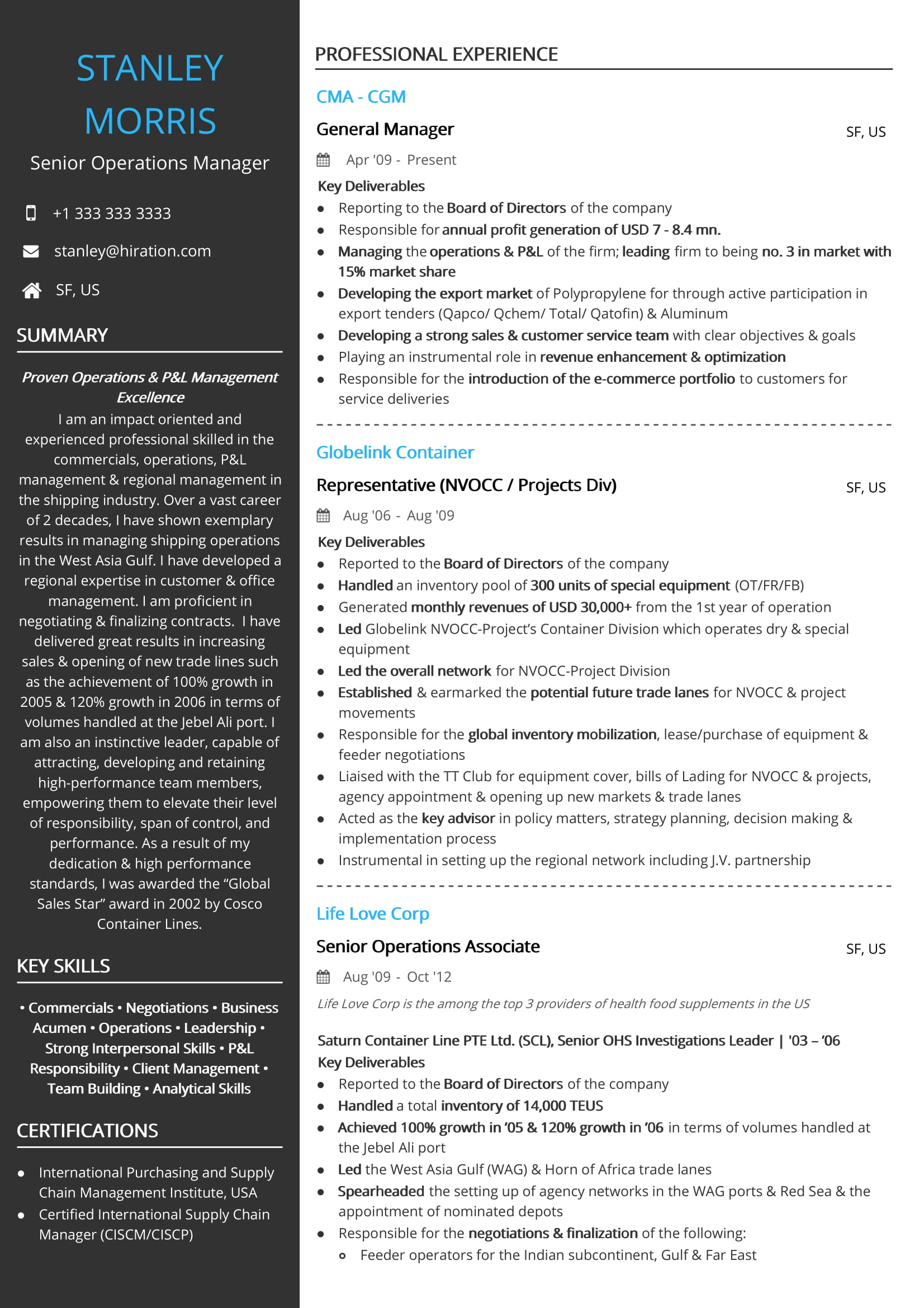operations resume examples samples business associate shipping general manager sample Resume Business Operations Associate Resume