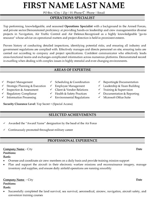 operations specialist resume sample template military samples director of logistics Resume Military Resume Samples