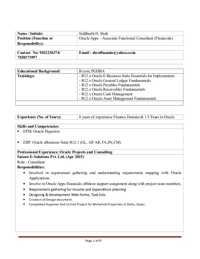 oracle financial functional consultant siddharth resume sample consultantsiddharth Resume Oracle Financial Consultant Resume Sample