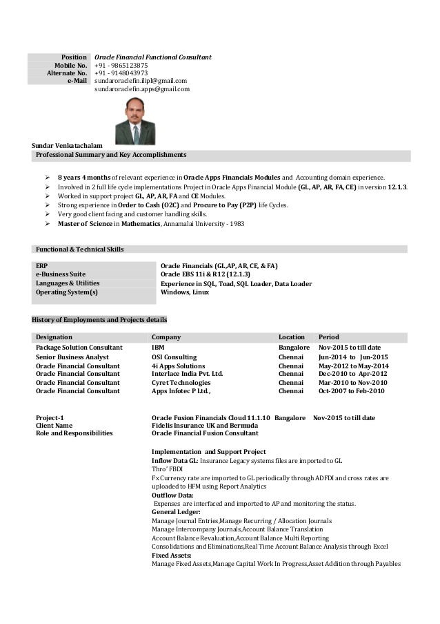 oracle financial with years months consultant resume sample best templates for marketing Resume Oracle Financial Consultant Resume Sample