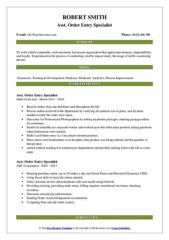order entry specialist resume samples qwikresume pdf high school student summary job for Resume Order Entry Resume Samples