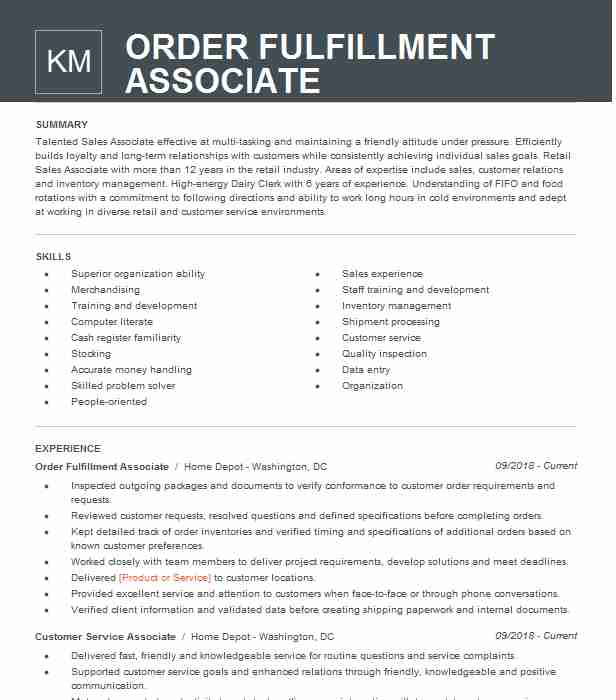 order fulfillment associate resume example the home depot san diego patient care best Resume Fulfillment Associate Resume