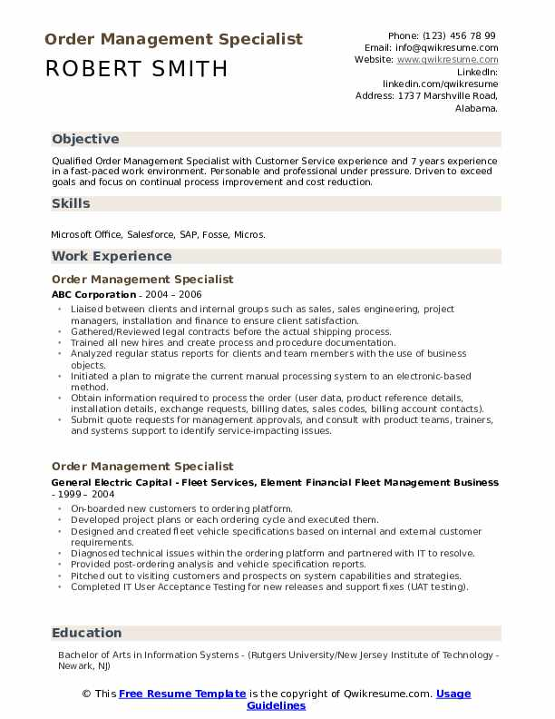 order management specialist resume samples qwikresume years of experience on pdf simple Resume Years Of Experience On Resume