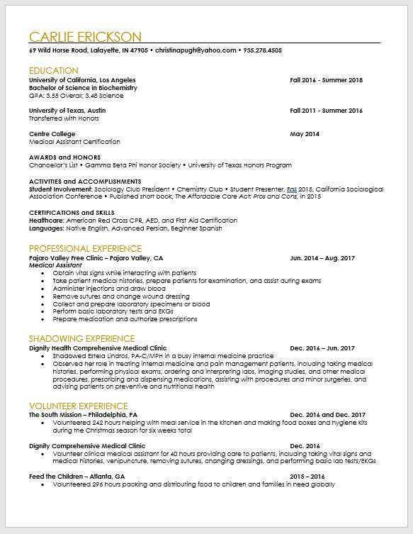 pa school applicant and pre resume template the physician assistant life biochemistry Resume Biochemistry Student Resume