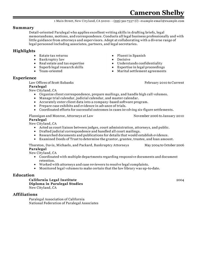 paralegal resume example law sample resumes livecareer job examples skills template Resume Paralegal Resume Template
