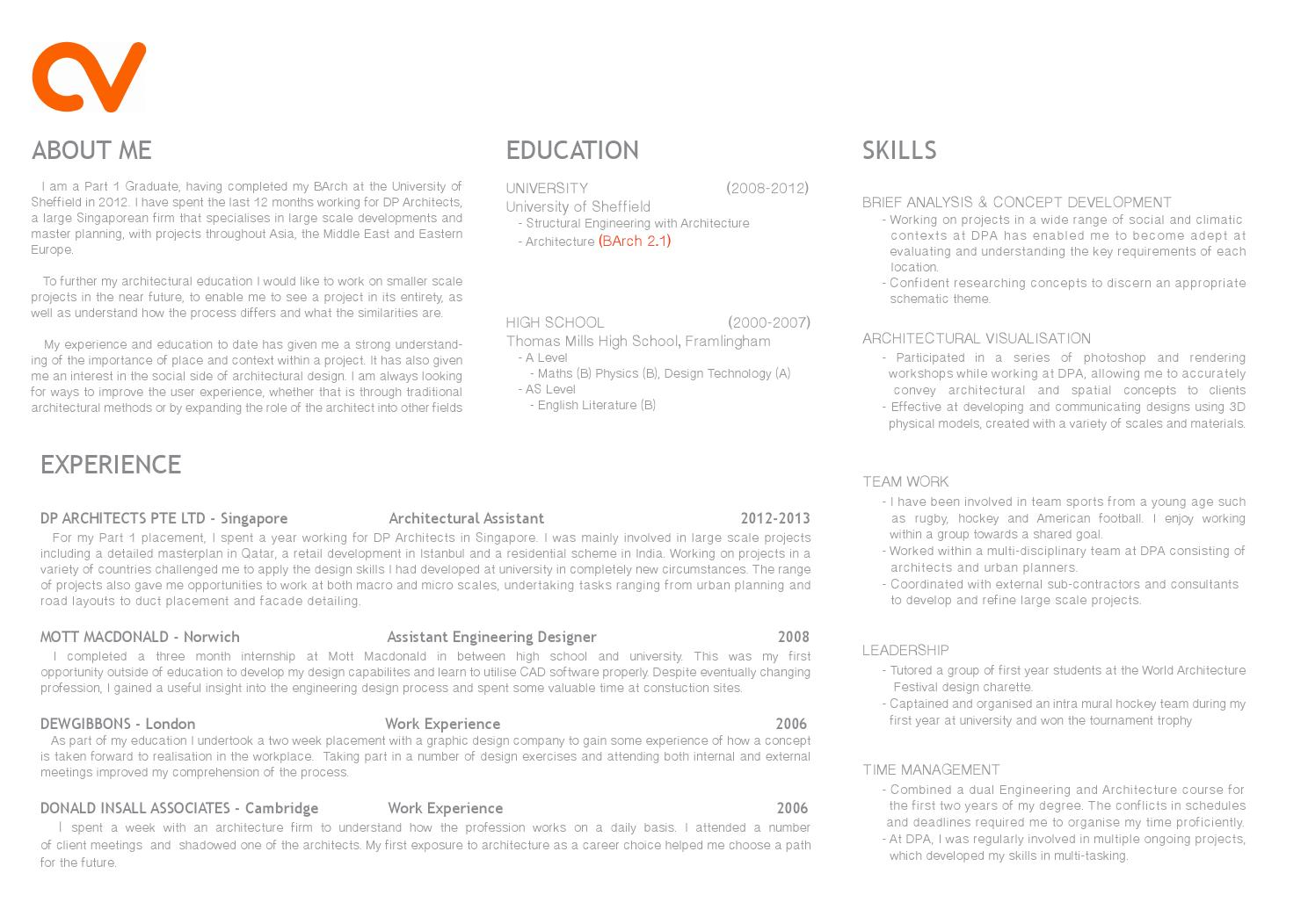 part architecture cv curriculum vitae by tomgibbons issuu graduate resume event character Resume Architecture Graduate Resume